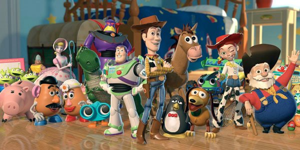 Buzz, Woody, Jessie and the whole gang in Toy Story 2