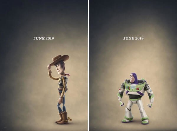 Woody and Buzz character posters from Toy Story 4