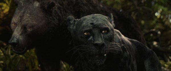 Baloo and panther Bagheera watch over Mowgli