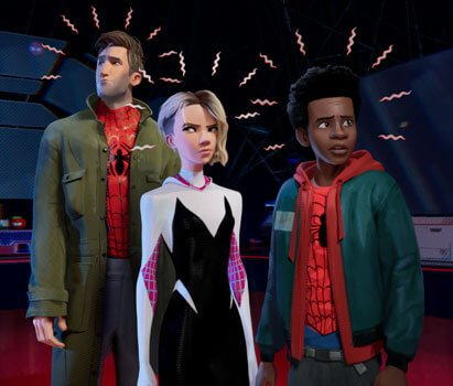 Miles Morales with Gwen Stacy and Peter Parker