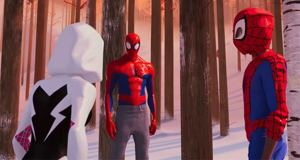 Spider-Gwen, Peter Parker Spidey and Miles meet in the woods