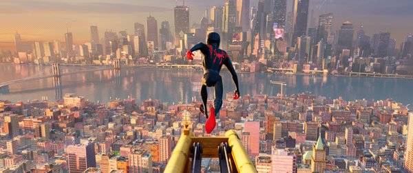 Miles as Spidey launches himself into New York