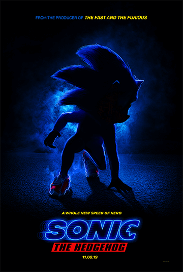 The first official poster for the Sonic the Hedgehog movie.