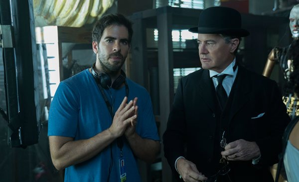 Director Roth with Kyle MacLachlan on set