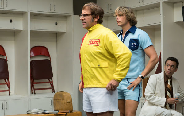 Bobby Riggs (Steve Carell) with trainer