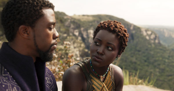 T'Challa and Nakia (Lupita Nyong'o) in a quiet moment