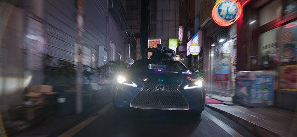 Black Panther atop a virtual reality car