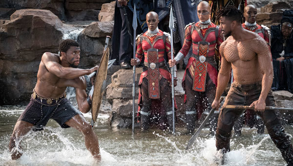 T'Challa fights Killmonger for Wakandan kingship