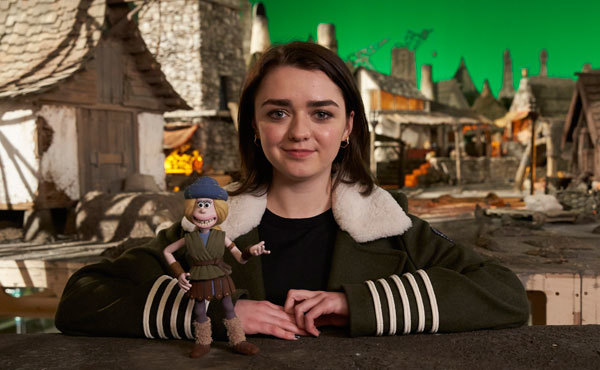 Maisie Williams with her character Goona