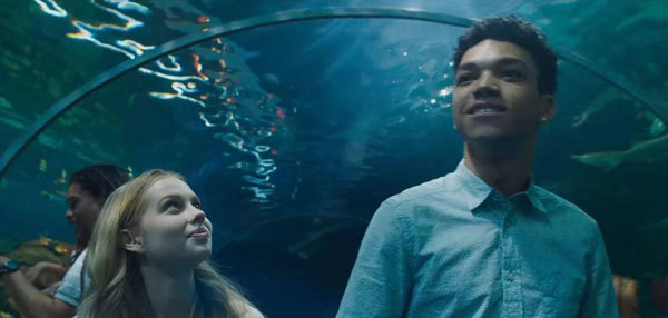 The aquarium when Justin is A