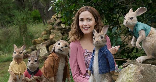Peter and family with friendly neighbor Bea (Rose Byrne)