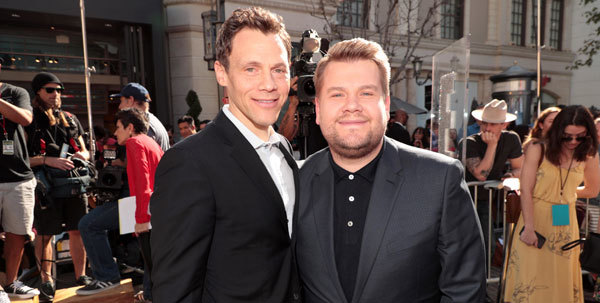 James Corden (right) with Will Gluck (Director/Writer/Producer)