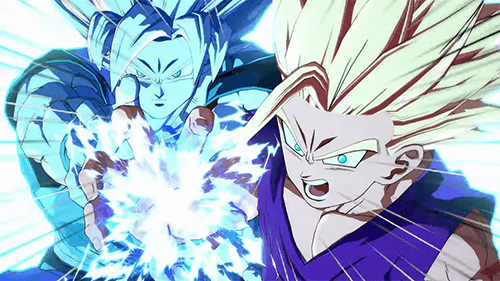 Gohan takes some power from Goku to unleash an energy blast.
