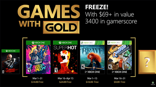 Xbox's Games with Gold lineup for March 2018.