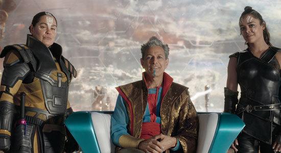 Grand Master (Jeff Goldblum) with Rachel House and Tessa Thompson