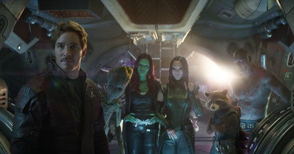 Gamora (Zoe Saldana, center) with Guardians