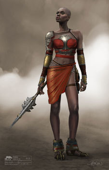 Early costume art for Okoye