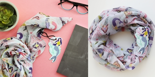 Molly and Rex mermaid scarf, $20, at Barnes and Noble and TJMaxx