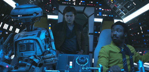 Lando (Donald) at the Falcon controls