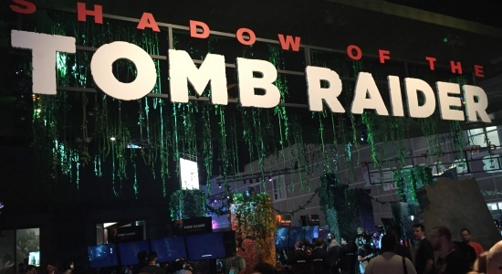 The Tomb Raider booth was made up to look like a rainforest
