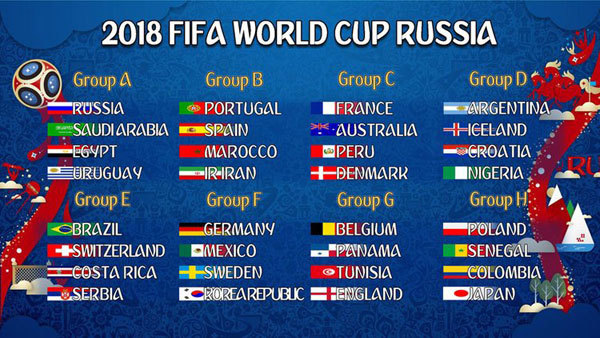 FIFA World up Russia 2018 Groups