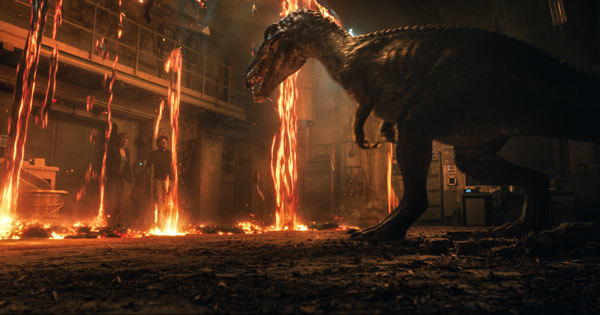 Claire and Franklin are caught between lava and a dino