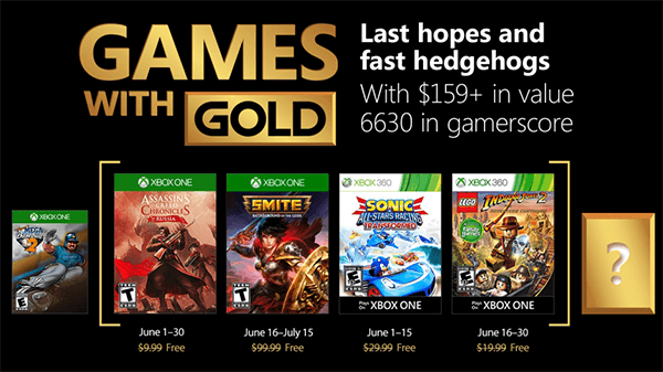 June 2018's lineup for Xbox's Games with Gold.