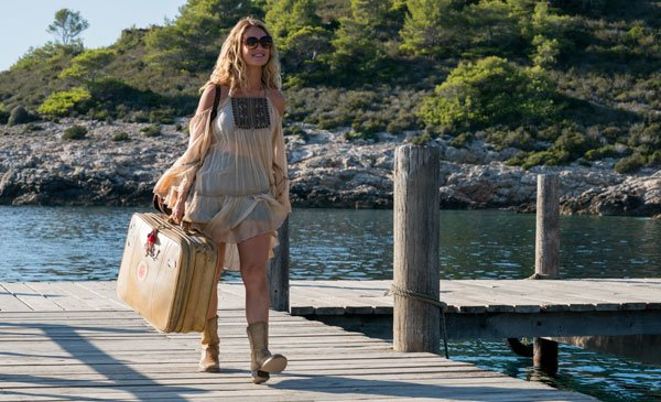 Lily James as Donna first arrives on the Greek island