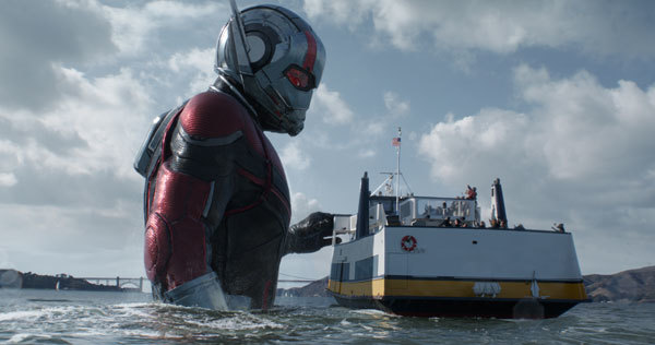 Giant Ant Man greets a ferry
