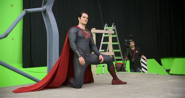 Henry as Superman did stunts against green screen
