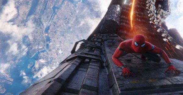 Spider-Man climbs on a rocket