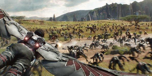 Falcon soars over the battle on Wakanda