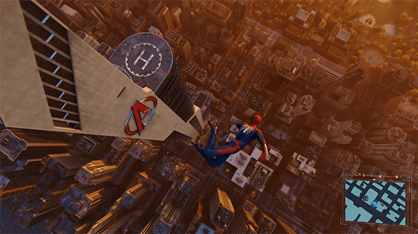 Avengers Tower stands tall in the game's take on New York City.