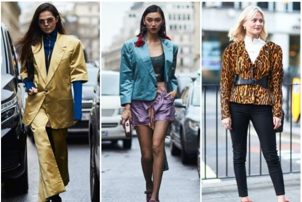Big shoulder pads in metallic hues and animal prints are in style in 2018