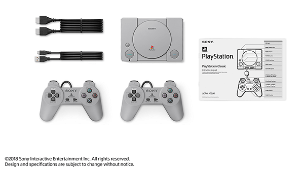 Everything in the box for the PlayStation Classic, no news on how long the controller wires are though.