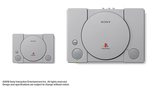 The PlayStation Classic, on the left, compared to the original PlayStation, on the right.