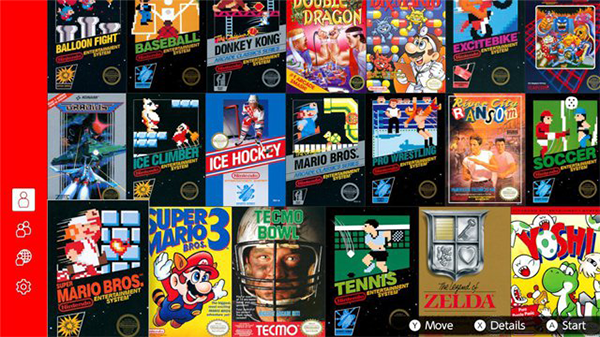 The lineup of available NES games through Nintendo Switch Online.