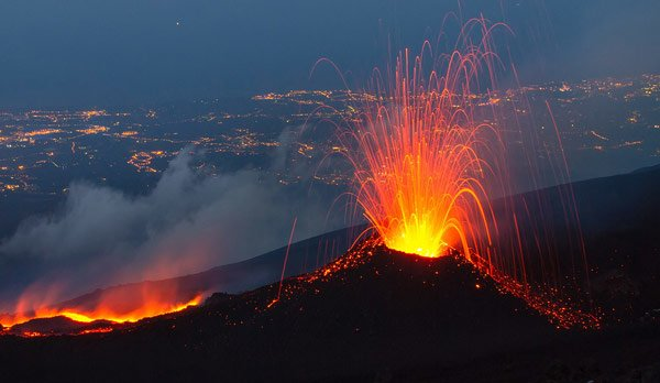 Lava shooting out of a volcano