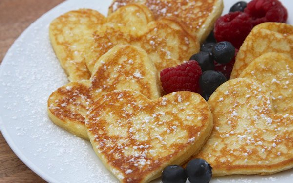 Heart Shaped Pancakes are the perfect for a Valentine's Day brunch