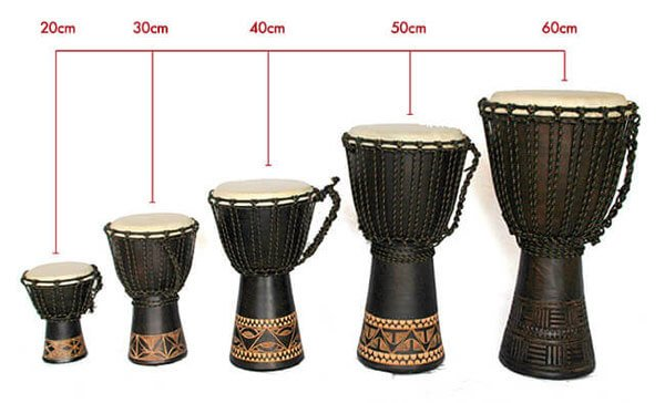 The Djembe Hand Drum comes in multiple sizes