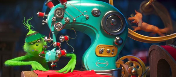 Grinch works on his creative sewing machine