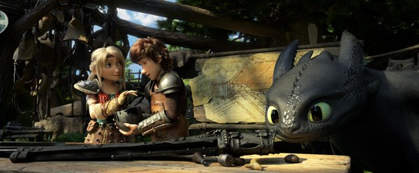 Hiccup works on a new tail for Toothless