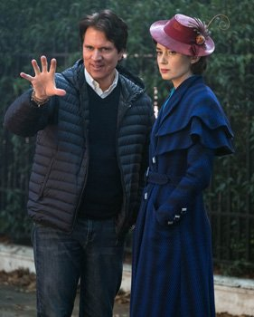 Director Rob Marshall talks with Emily Blunt