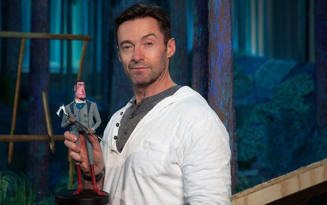 Hugh Jackman with Sir Lionel puppet