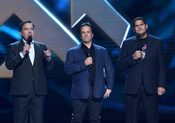 Shawn Layden of PlayStation, Phil Spencer of Xbox, and Reggie Fils Aime of Nintendo announcing cross-platform play