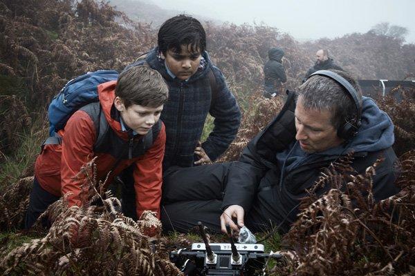 Louis with director Joe Cornish on set