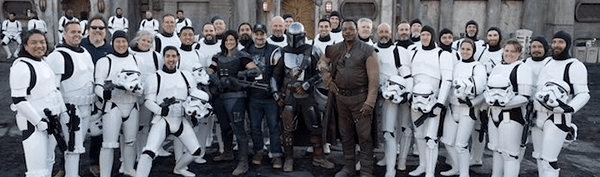Dave Filoni and the cast posing for a picture with the 501st Legion Costuming Group