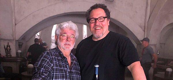 Writer/showrunner Jon Favreau and Star Wars creator George Lucas on the set of The Mandalorian