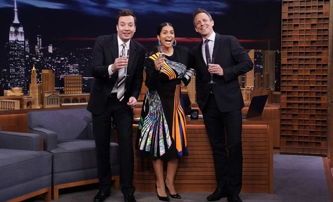 Lilly Singh with Jimmy Fallon and Seth Meyers
