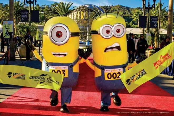 Minions promoting the inaugural Running Universal Minion Run